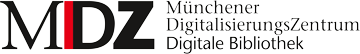 Logo of the MDZ: Münchener DigitalisierungsZentrum, Digitale Bibliothek. Navigate to main page